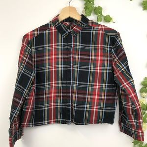 Mango | button front cropped plaid button down top